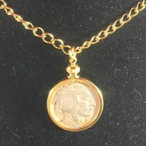 1918 Buffalo Nickel on Gold Necklace